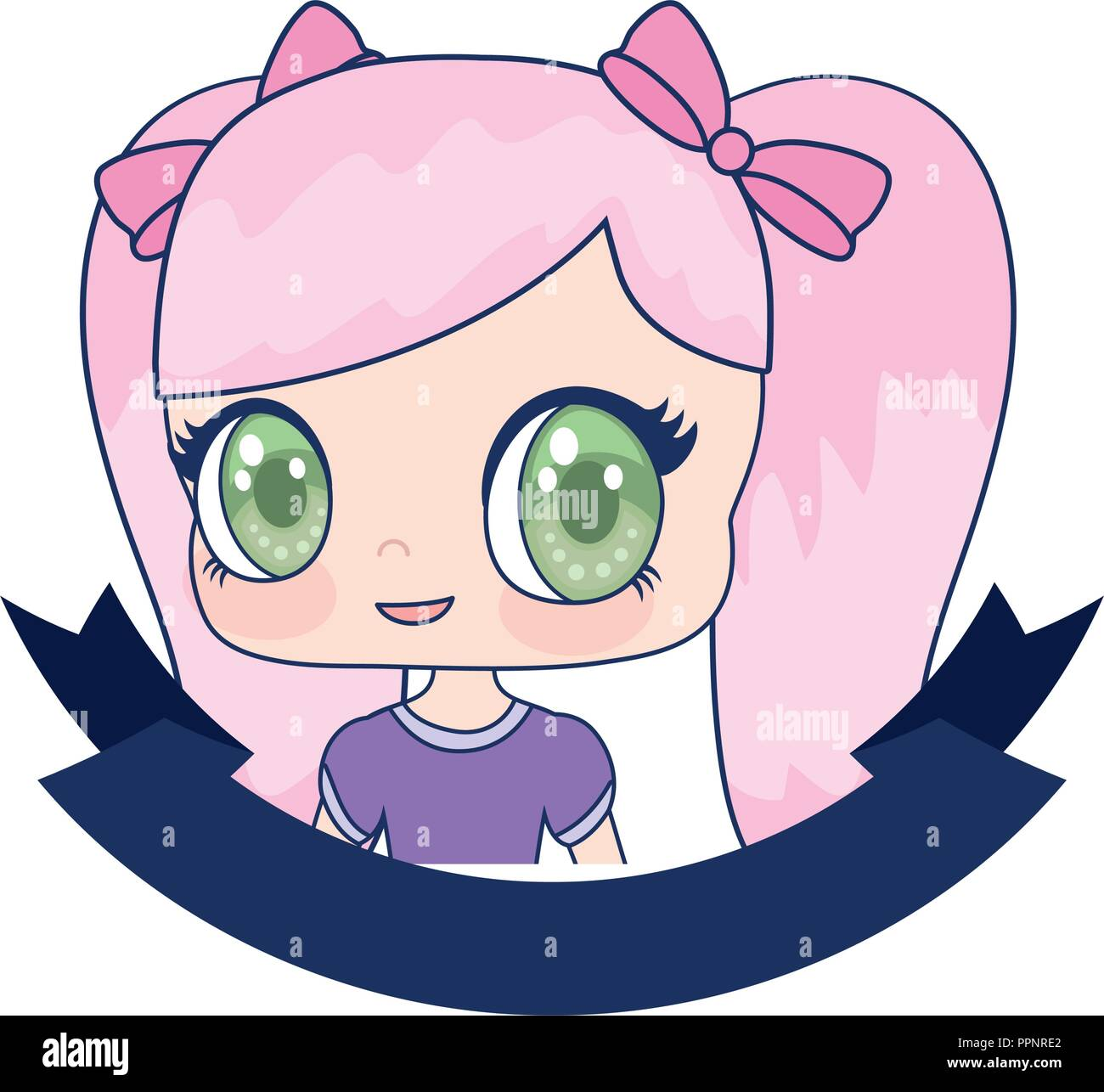 Cute anime girl portrait cartoon ribbon vector illustration