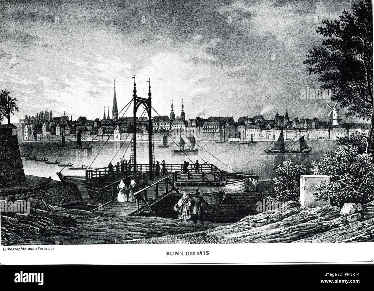 Bonn um1835 Stahlstich. - Stock Image