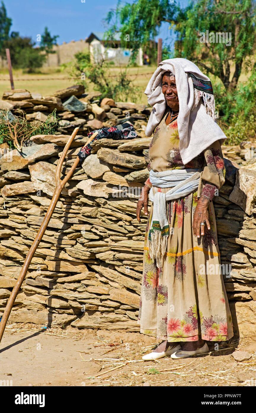 Farmer from the Tigray ethnic group, Hawzien plain, Tigray, Ethiopia - Stock Image