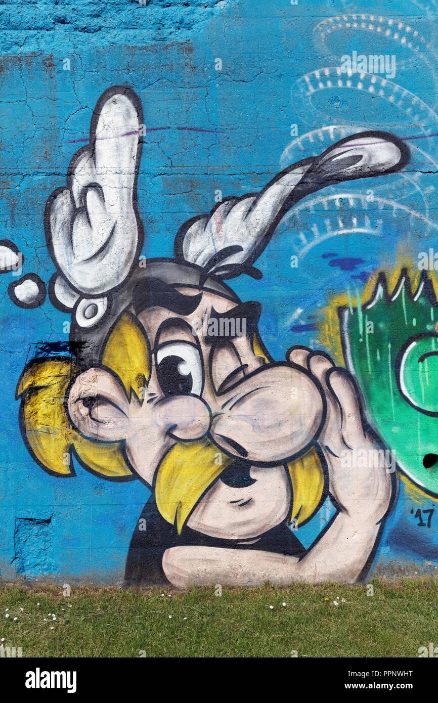 Asterix, cartoon character, painting, street art, Duisburg, North Rhine-Wesfalen, Germany Stock Photo