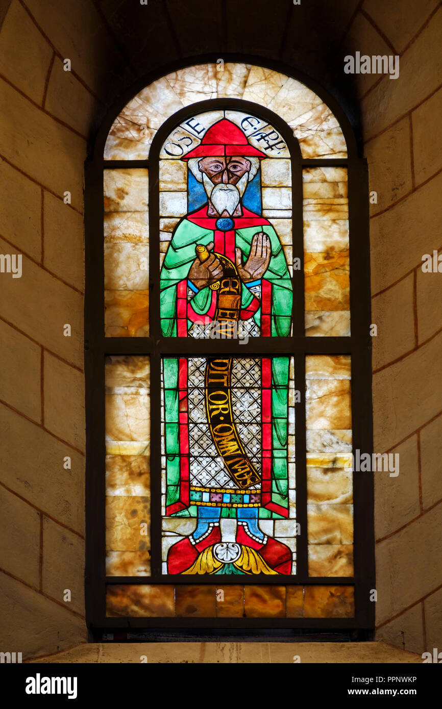 Prophet Hosea, Stained Glass Window, Window of the Prophets, Augsburg Cathedral, Augsburg, Swabia, Bavaria, Germany - Stock Image