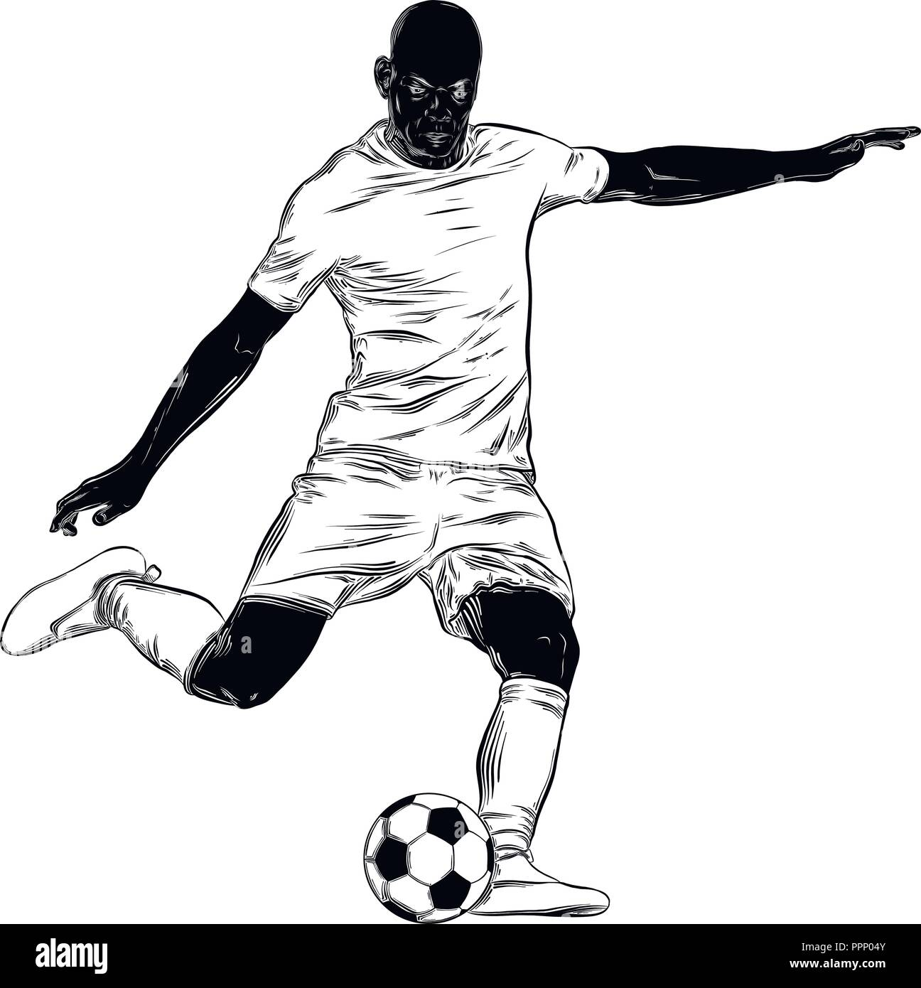 Hand drawn sketch of footballer in black isolated on white background detailed vintage style drawing illustration for posters and print