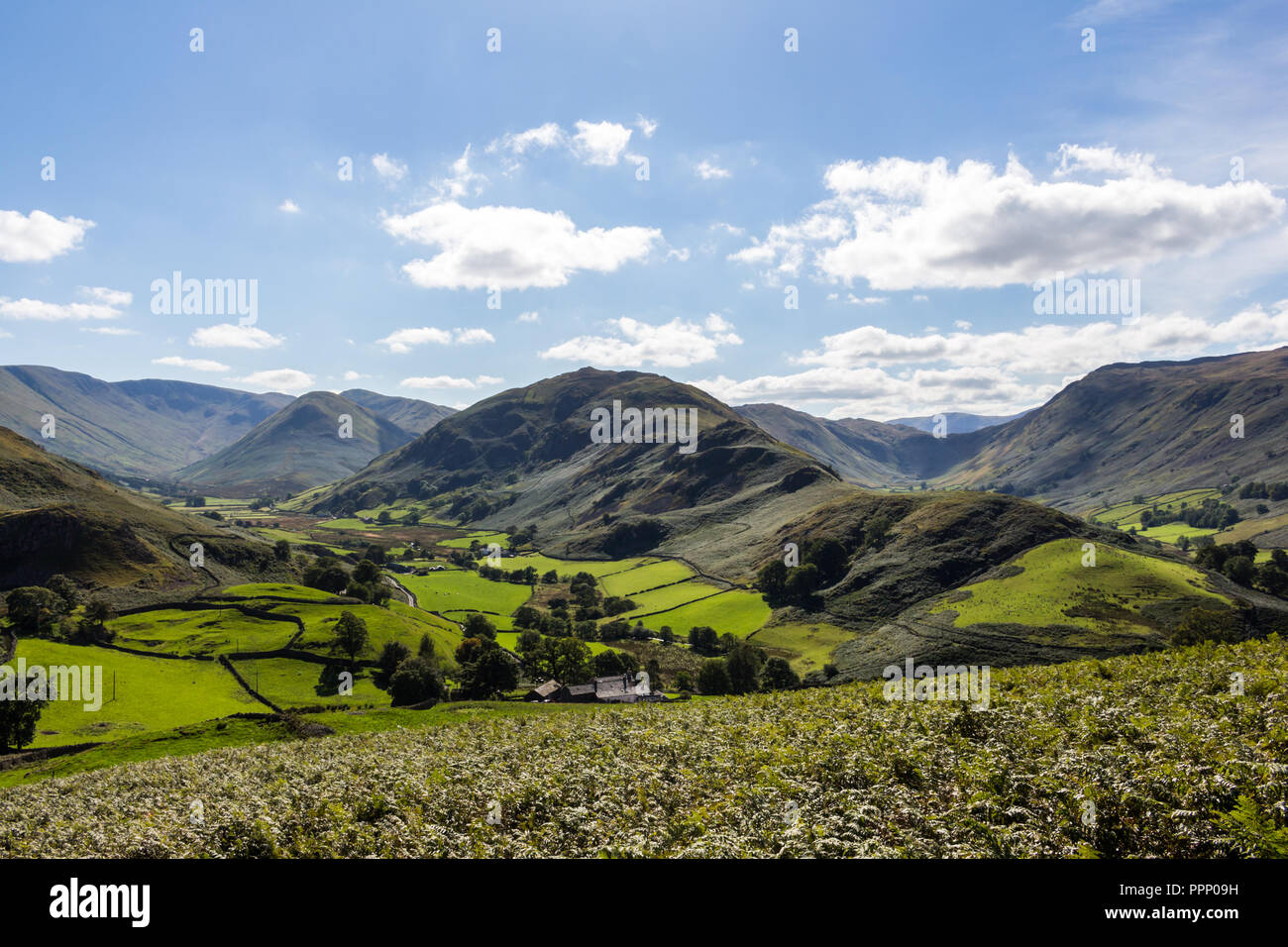 View from Hallin Fell to Martindale and Boardale valleys with Beda Fell  in centre. Lake District, England. Stock Photo
