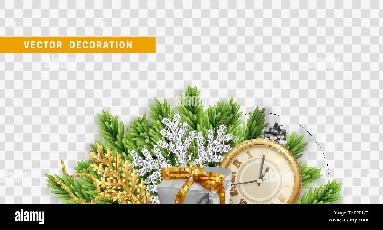Composition With Xmas Decorations Christmas Tree Branches Pine Cones Colorful Realistic Gift Boxes And Retro Clock Vector Isolated On Transparent