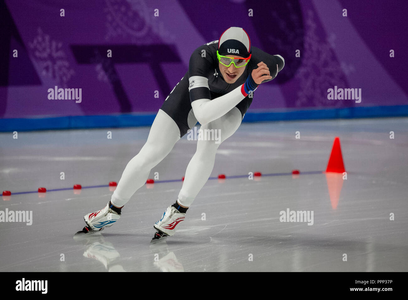 Emery Lehman (USA) competing in the men's  5000m speed skating at the Olympic Winter Games PyeongChang 2018 - Stock Image