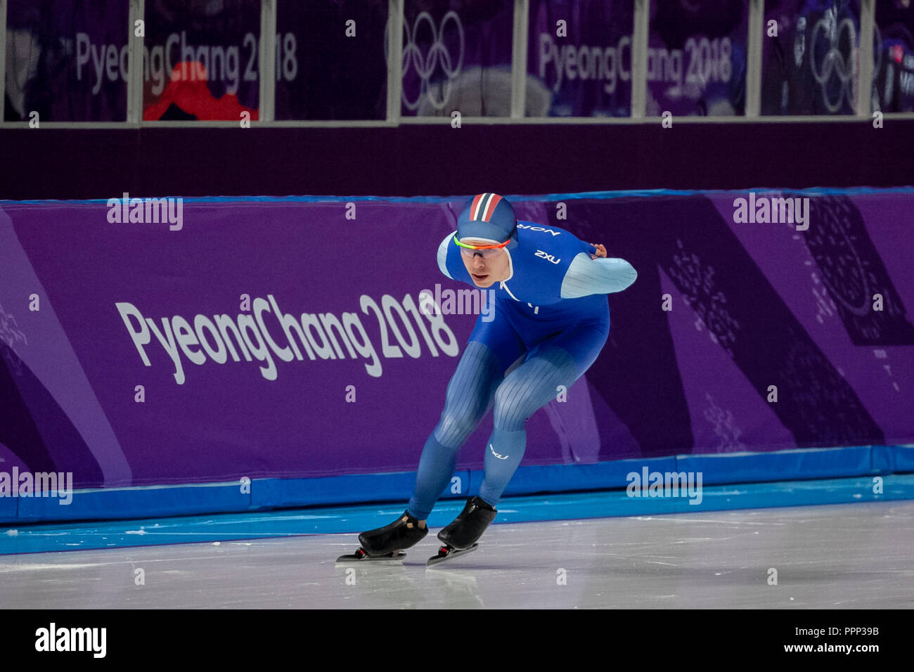 Simen Spieler Nilsen (NOR) competing in the men's  5000m speed skating at the Olympic Winter Games PyeongChang 2018 - Stock Image