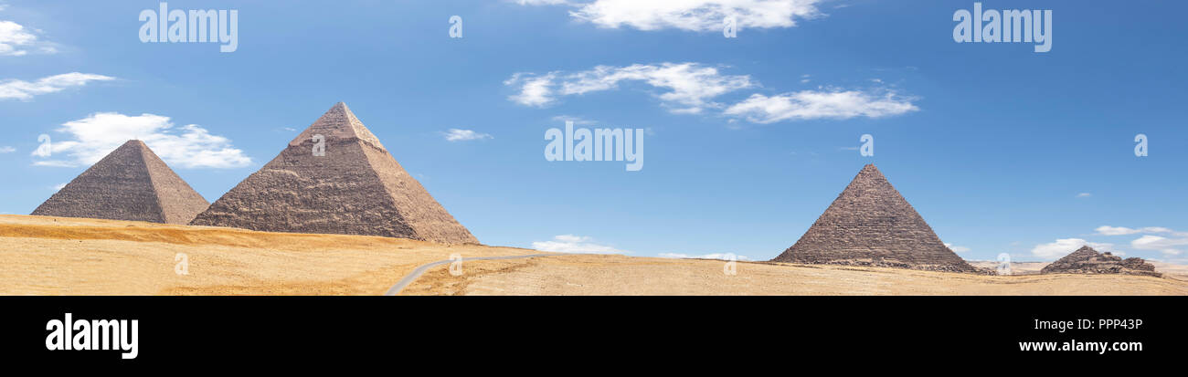 Panorama of the area with the great pyramids of Giza, Egypt - Stock Image