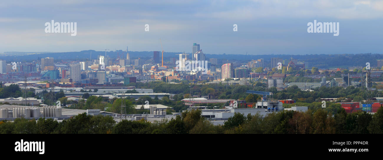 Leeds Skyline Panorama taken from Rothwell, West Yorkshire - Stock Image