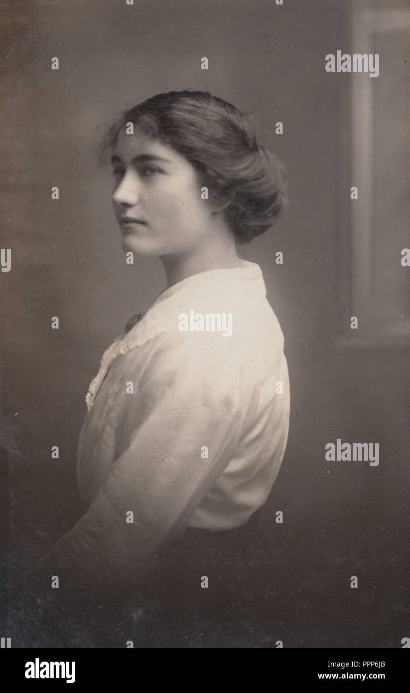 Vintage Close Up Photograph Of An Elegant Young Lady Stock Photo
