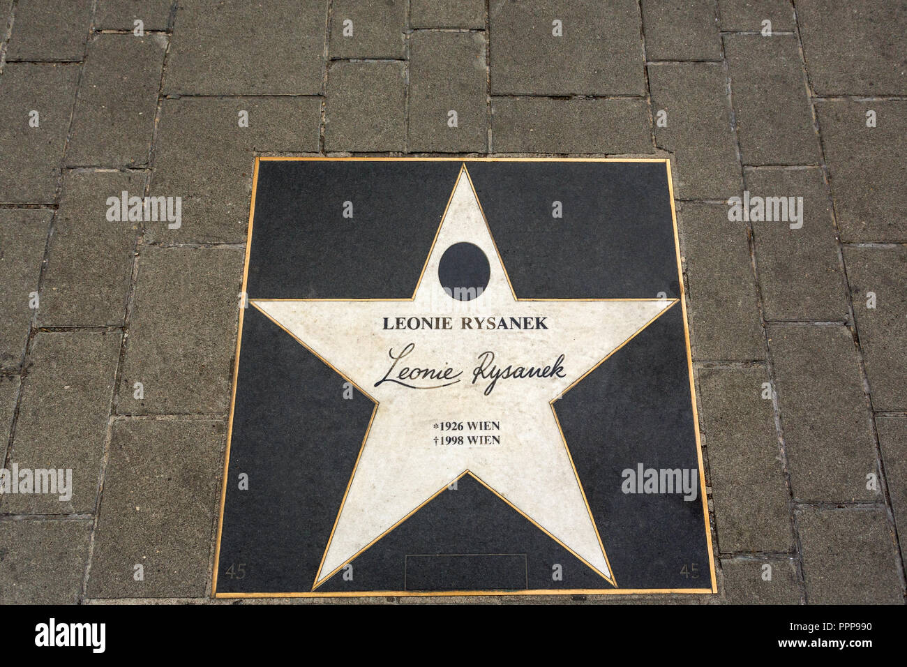 VIENNA, AUSTRIA - JUNE 27, 2015: The star of Leonie Rysanek on the boulevard near State Opera in Vienna, Austria - Stock Image