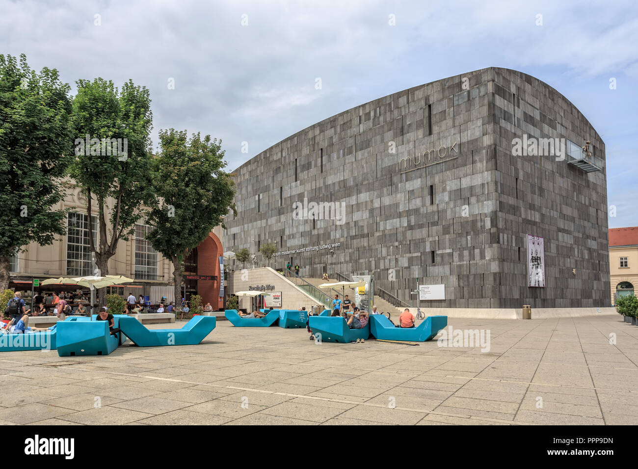 VIENNA, AUSTRIA - JUNE 27, 2015: Mumok (Museum Moderner Kunst) Museum of Modern Art is a museum in the Museumsquartier in Vienna that has a collection - Stock Image