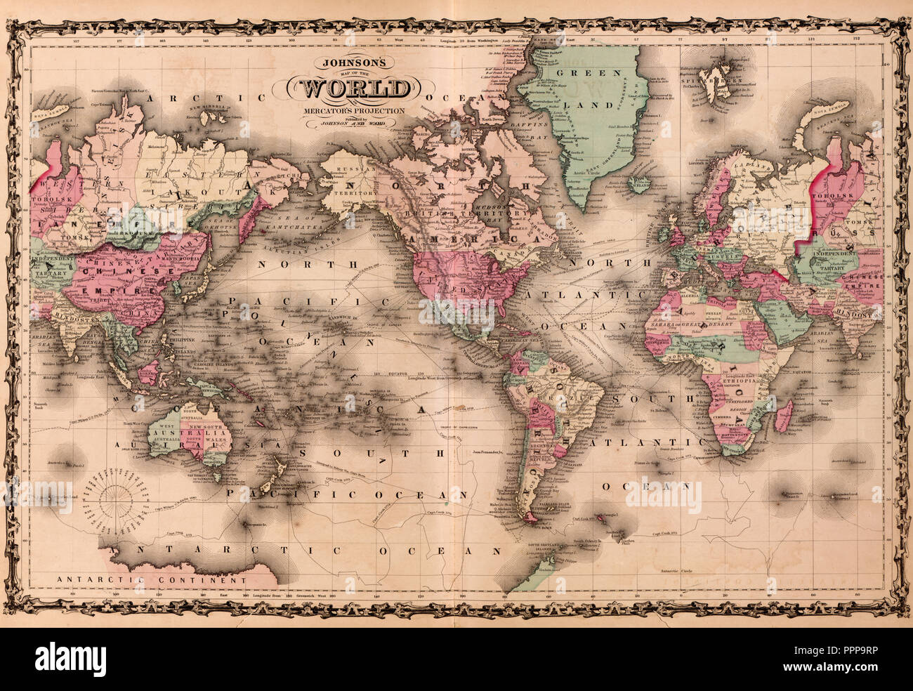 Johnson's Map of the World, circa 1862 - Stock Image