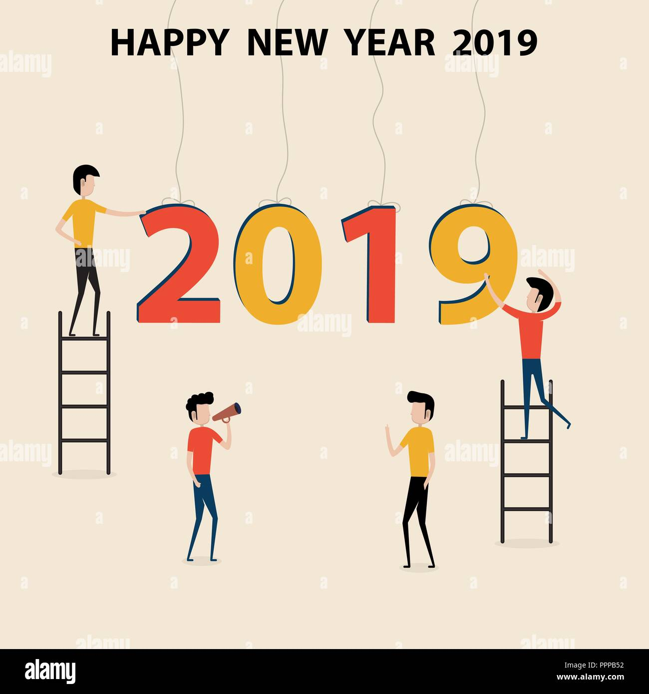 Business people cartoon character & Happy New Year 2019 concept.Happy New Year 2019.2019 Happy New Year greeting card.Vector Illustration.Vector illus - Stock Vector