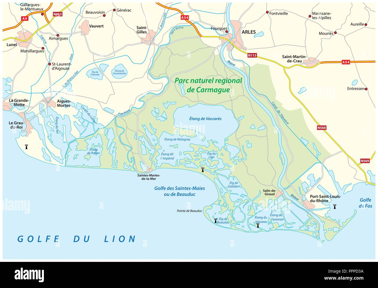 Map of the Southern French Regional Natural Park Camargue, France. - Stock Image
