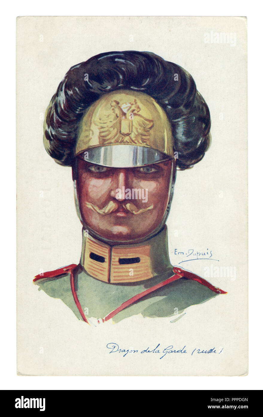 French historical postcard: portrait of a Cavalryman-Dragoon of the Imperial Russian guard, handsome man with a thin mustache, world war one 1914-1918 - Stock Image