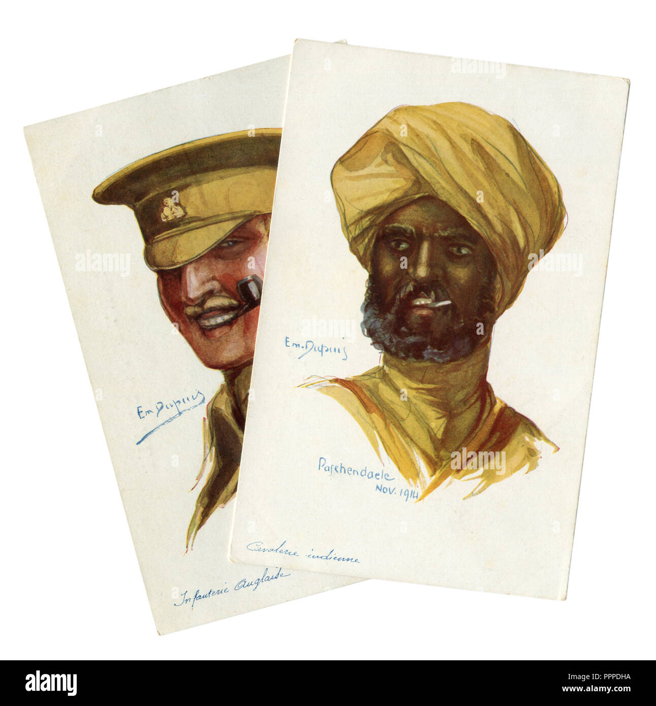 Two French historical postcards: portraits of British soldiers, infantryman and Indian cavalry colonial troops of world war I 1914-1918, England - Stock Image