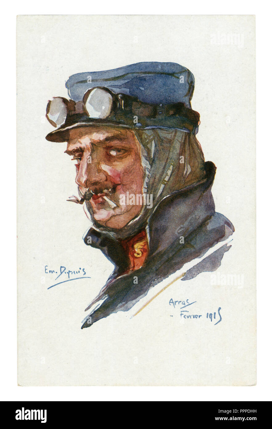 French historical postcard: Portrait of ACE pilot in flight glasses, with thin mustache, smoking a cigarette. world war one 1914-1918. France - Stock Image