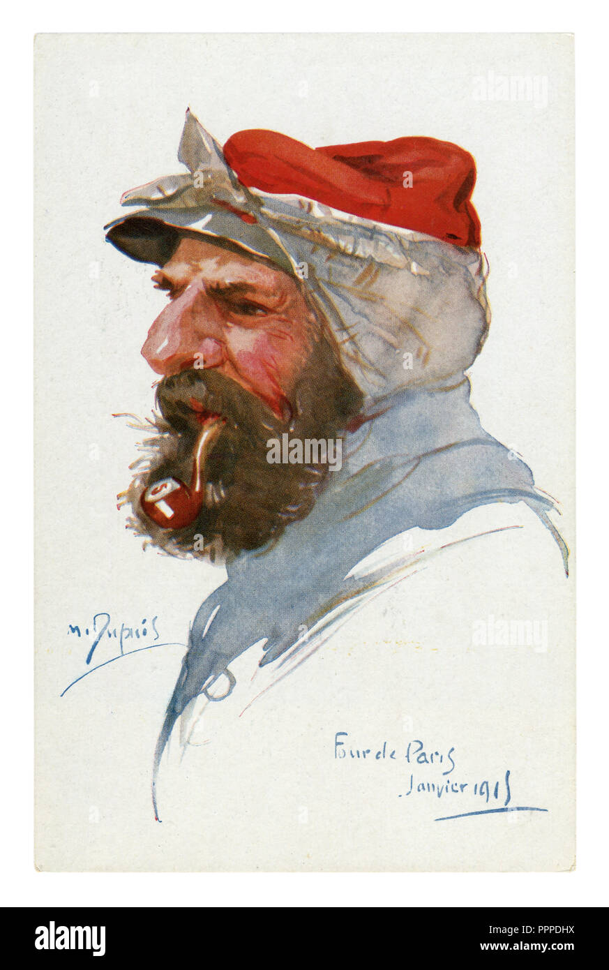 French historical postcard: portrait of an old experienced soldier in a red cap with a handkerchief who smokes a pipe. world war one 1914-1918. France - Stock Image
