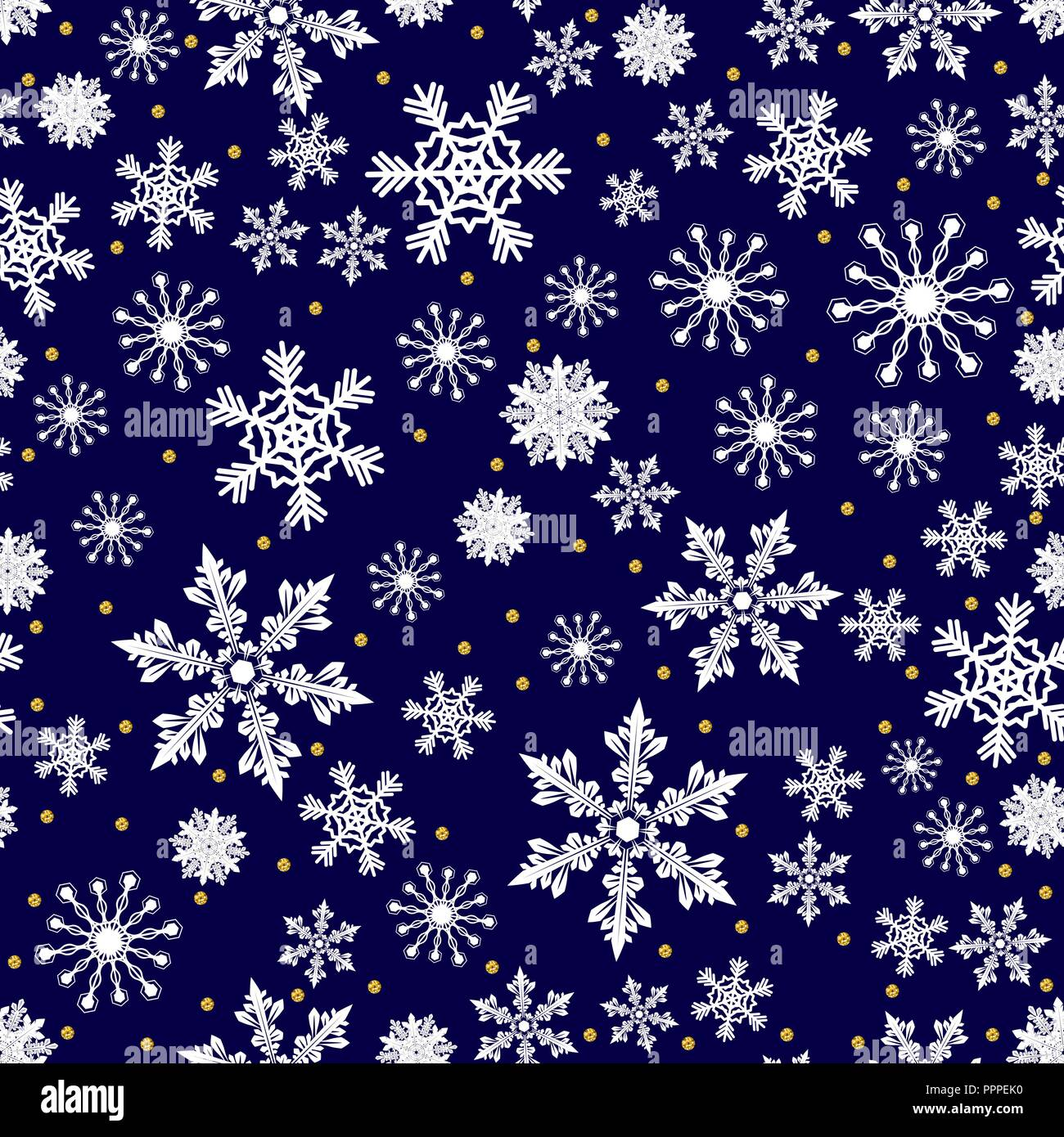 Christmas Pattern.Christmas Pattern Made Of White Snowflakes And Golden Dots