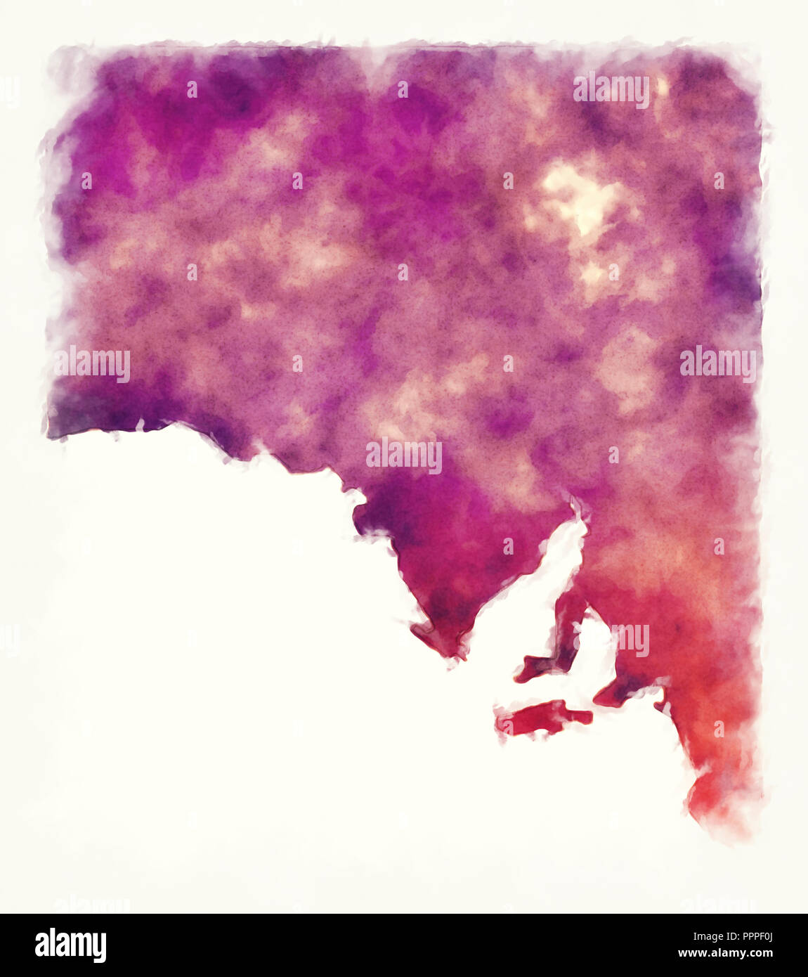 South Australia state watercolor map of Australia in front of a white background - Stock Image