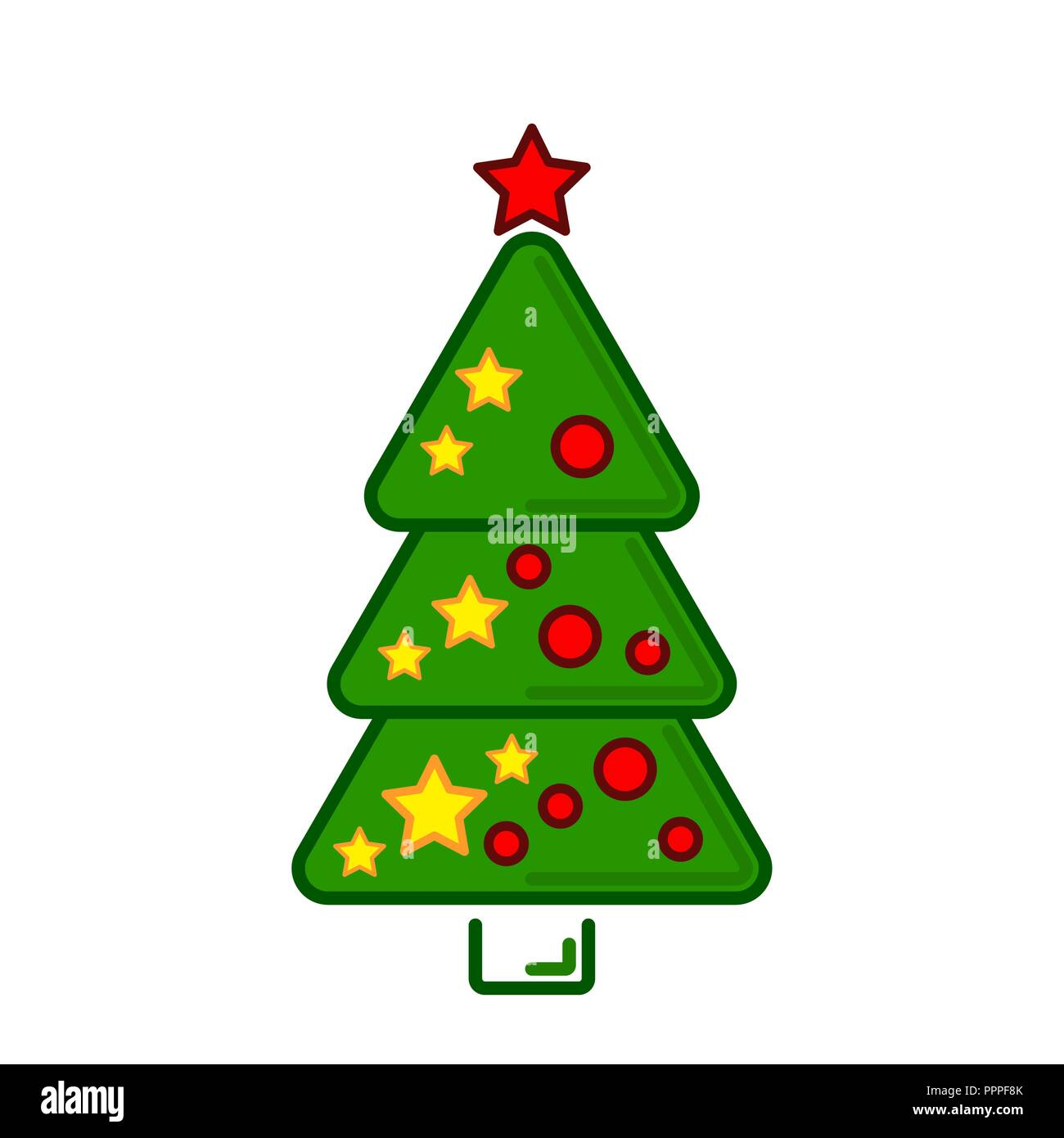 Colorful Christmas Tree Vector.Christmas Tree Vector Line Colorful Icon On A White