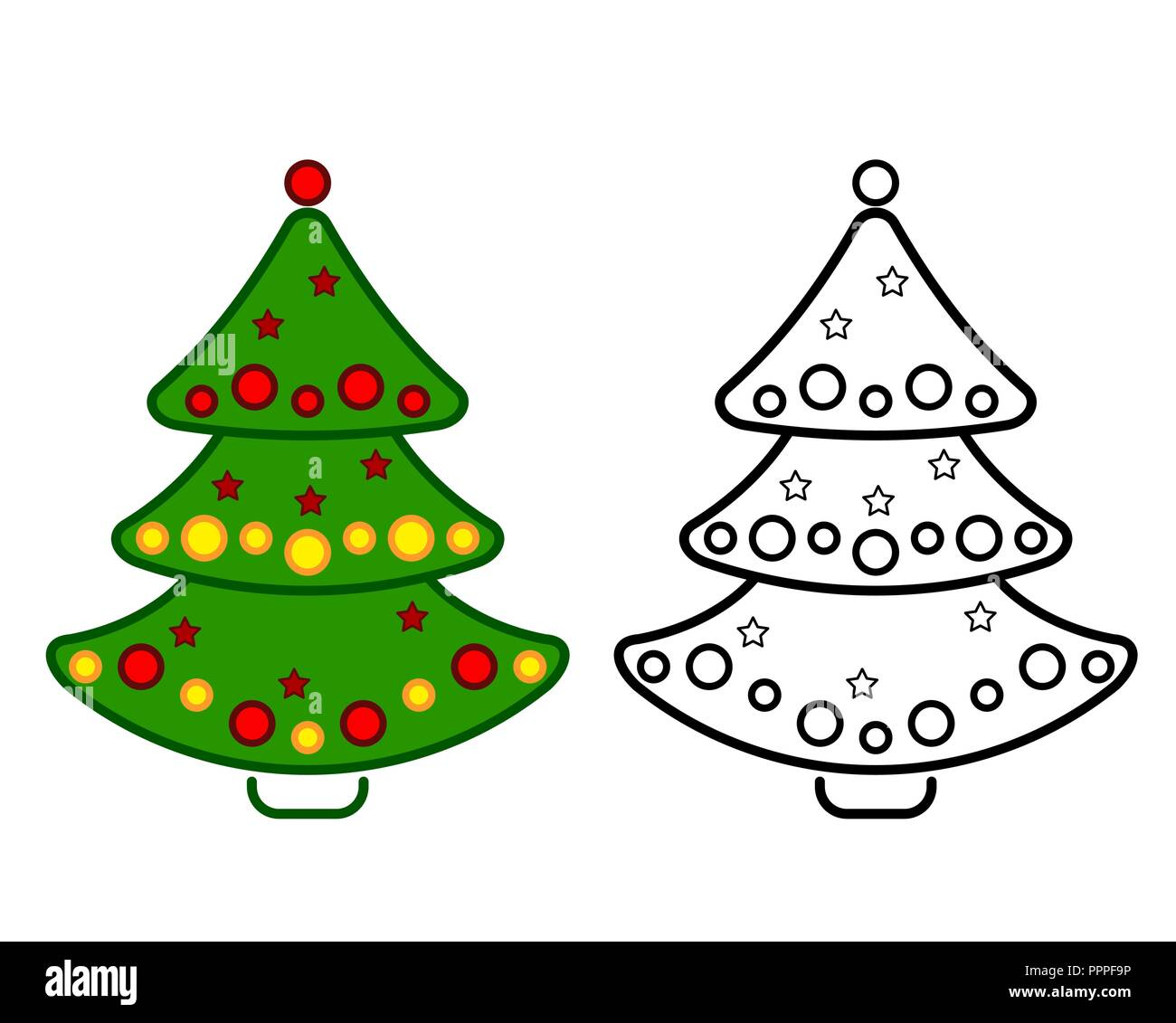 Christmas tree vector line icons on a white background coloring stock image