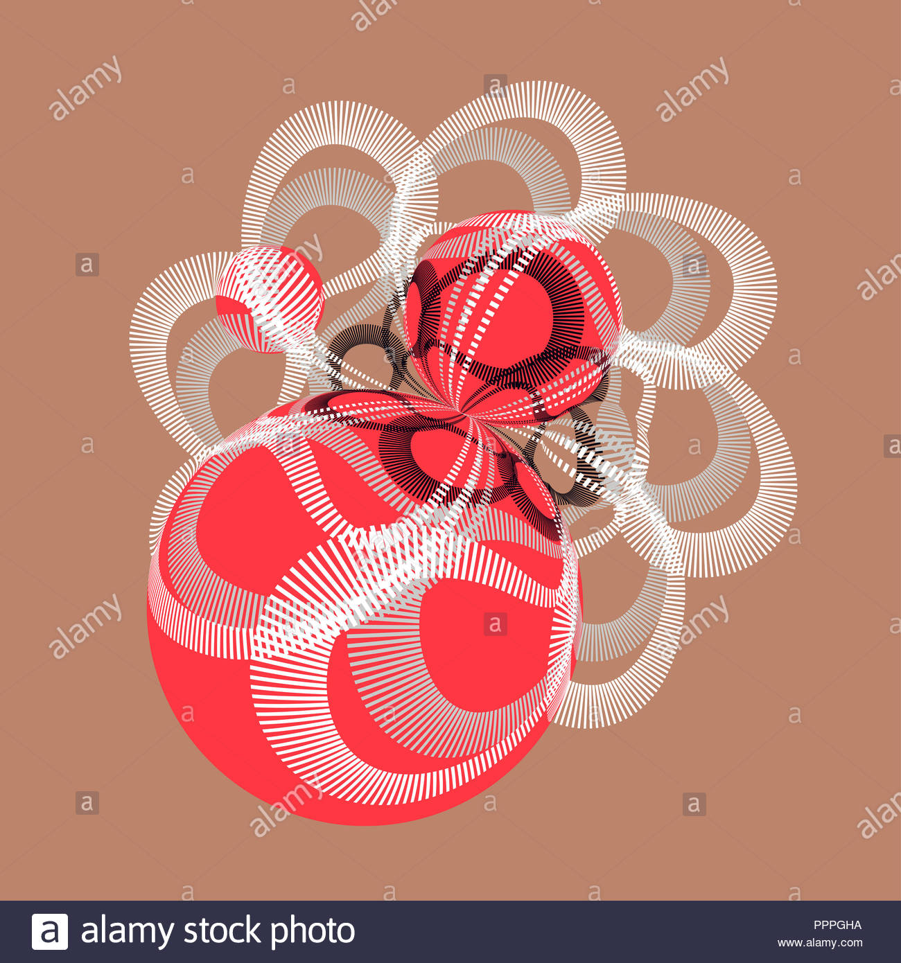 abstract illustration with geometric entanglement of spheres in copper and red - Stock Image