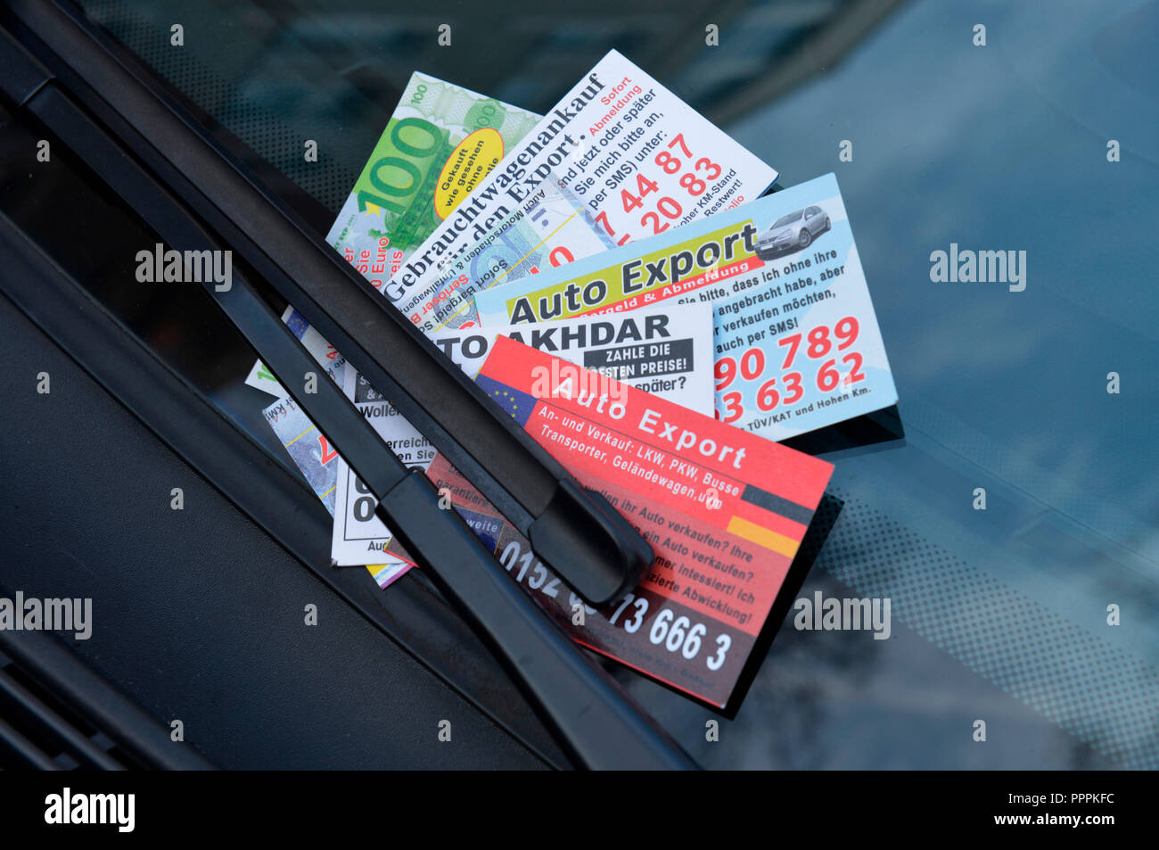 business card, car export, car purchase - Stock Image
