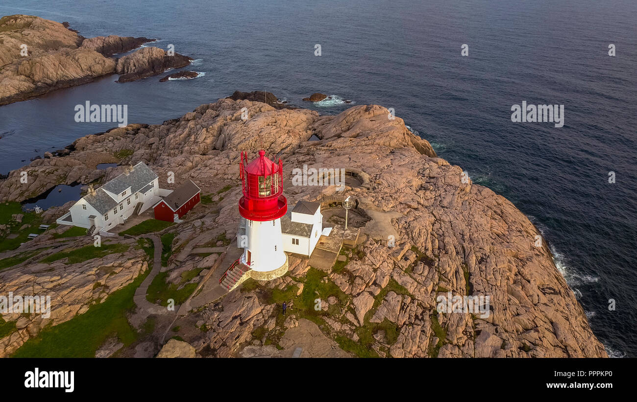 Lighthouse, Cape Lindesnes, Vets-Agder, Norway Stock Photo