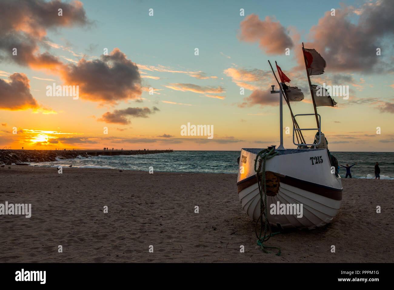 Ship at Sunset, Harbour, Vorupoer, Jylland, Denmark - Stock Image