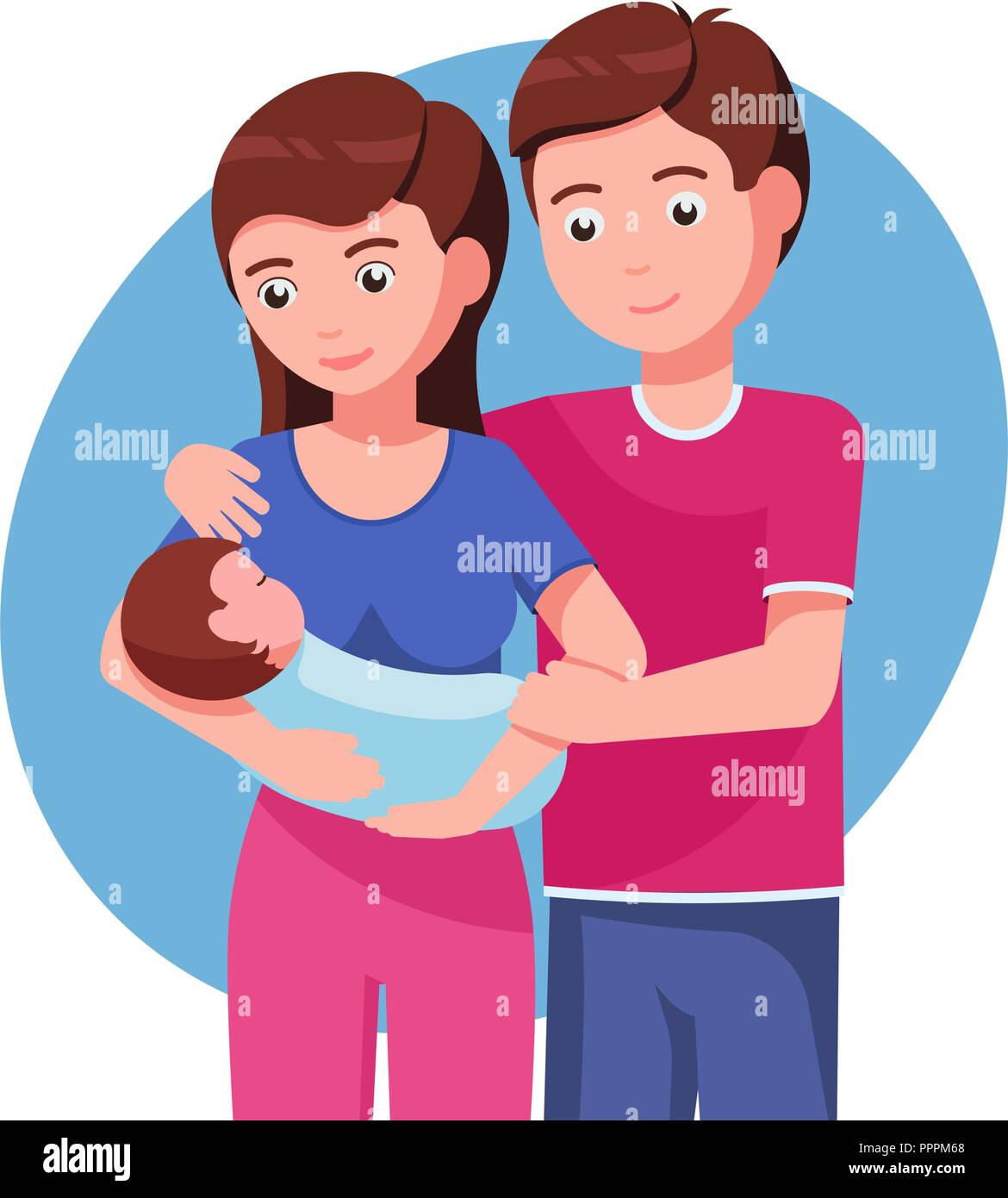 Father And Mother Holding Hands Of Their Child Stock Vector Image Art Alamy