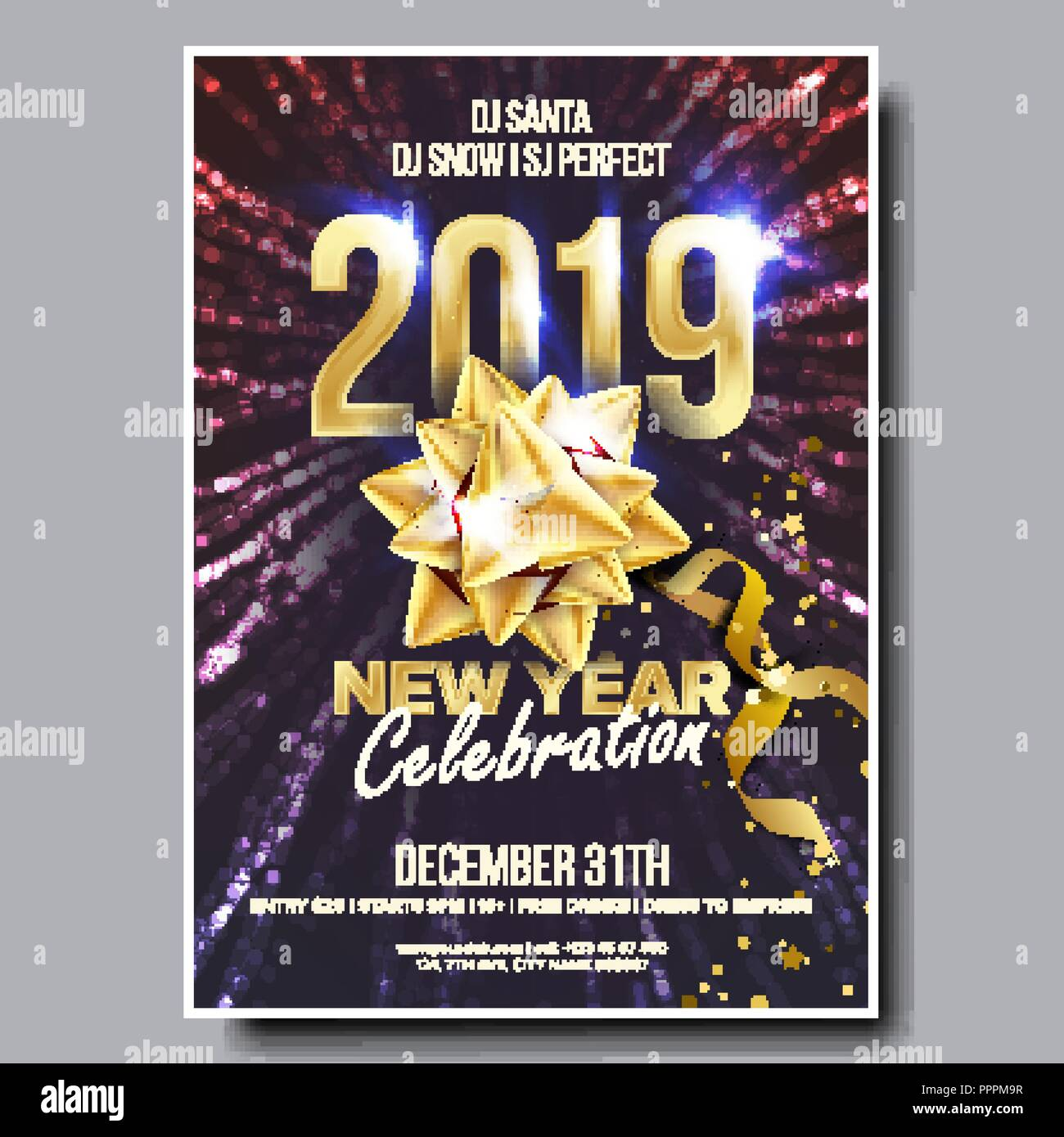 2019 party flyer poster vector happy new year celebration template
