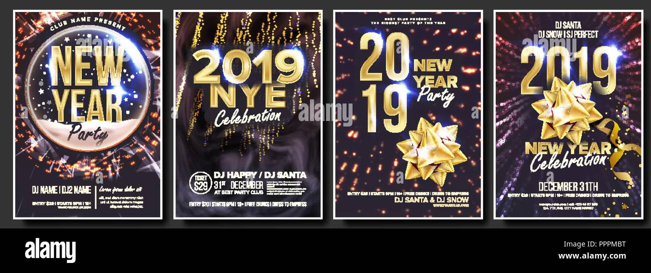 2019 party flyer poster set vector night club celebration musical concert banner happy new year celebration template winter background