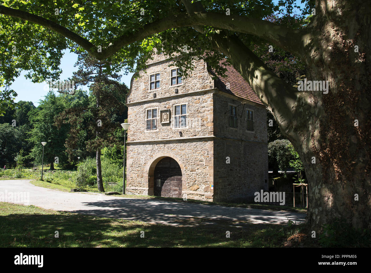 gatehouse, art gallery, Rombergpark, Dortmund, Ruhr district, North Rhine-Westphalia, Germany - Stock Image