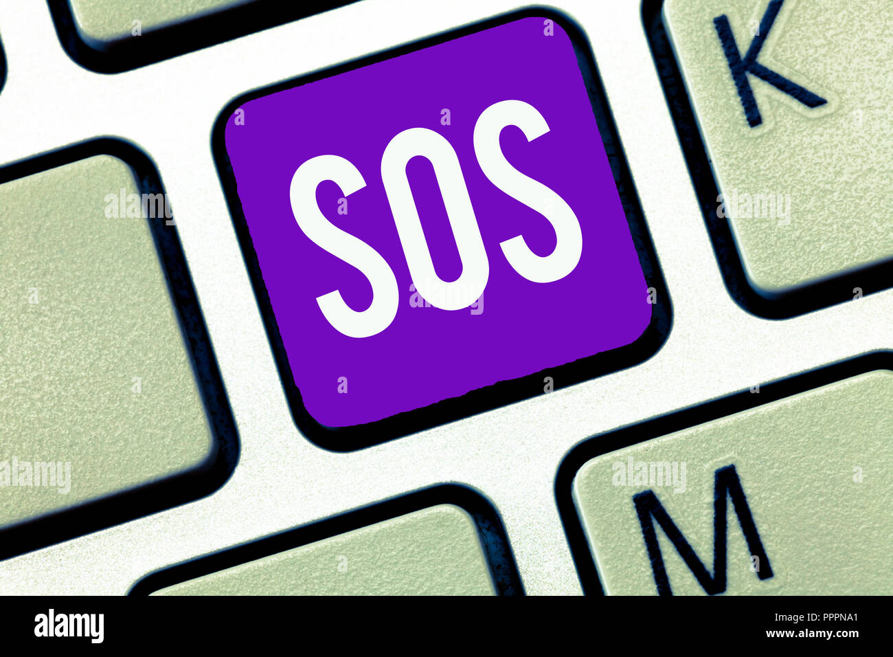 Writing note showing Sos. Business photo showcasing Urgent appeal for help International code signal of extreme distress. - Stock Image