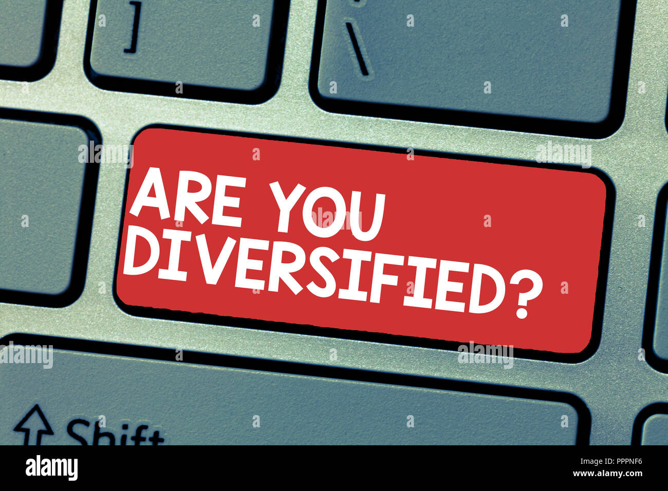 Handwriting text writing Are You Diversified question. Concept meaning someone who is Different Mixed Multi Faceted. Stock Photo