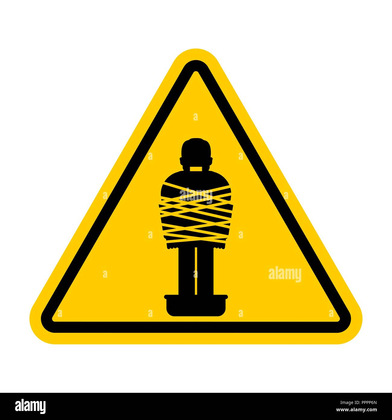 Attention Mafia victim. Caution gangster prey. Yellow road sign. Man tied up with rope Cement shoes. Warning Criminals - Stock Vector