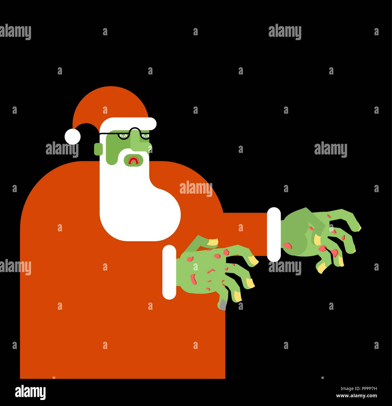 Santa Claus zombie. Christmas grandfather horror. Halloween New Year ...