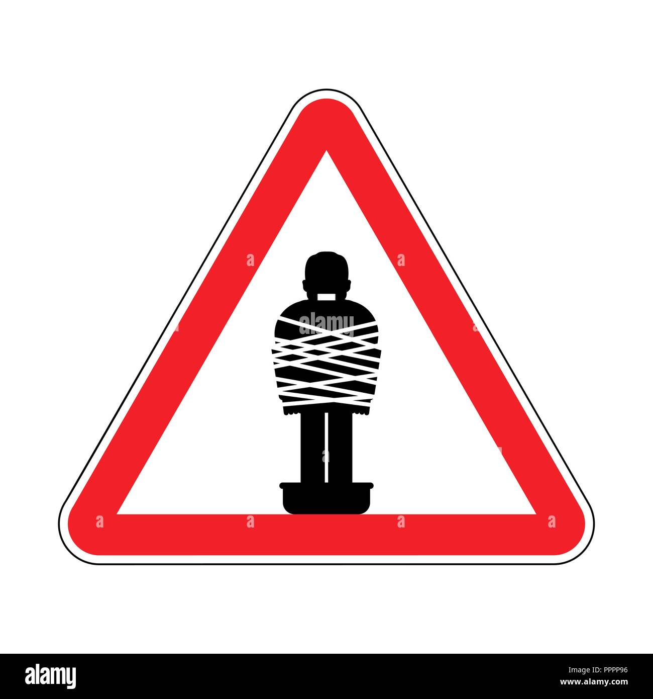 Attention Mafia victim. Caution gangster prey. Red road sign. Man tied up with rope Cement shoes. Warning Criminals - Stock Vector