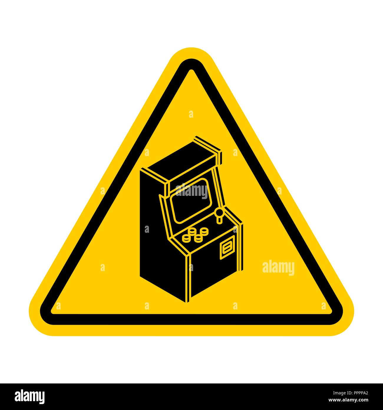 Attention Old Arcade Machine. Caution Retro VideoGame Gaming. Yellow road sign. Warning play - Stock Vector