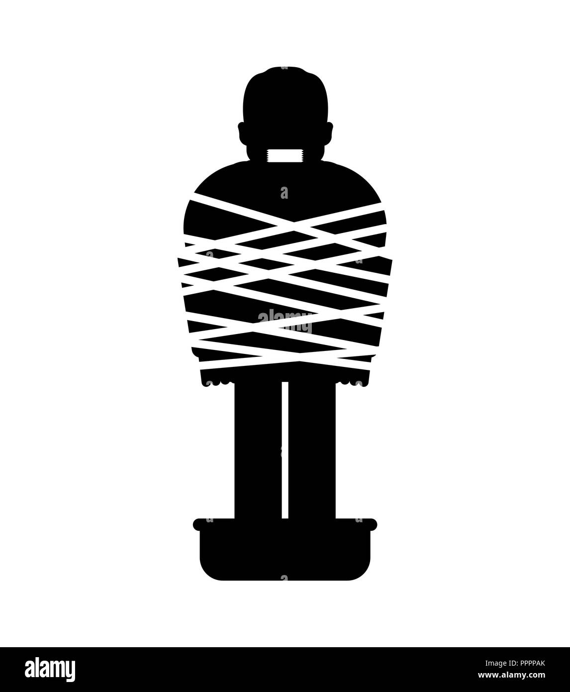 Mafia victim icon. Man tied up with rope Cement shoes. pelvis with concrete. gangster prey - Stock Vector