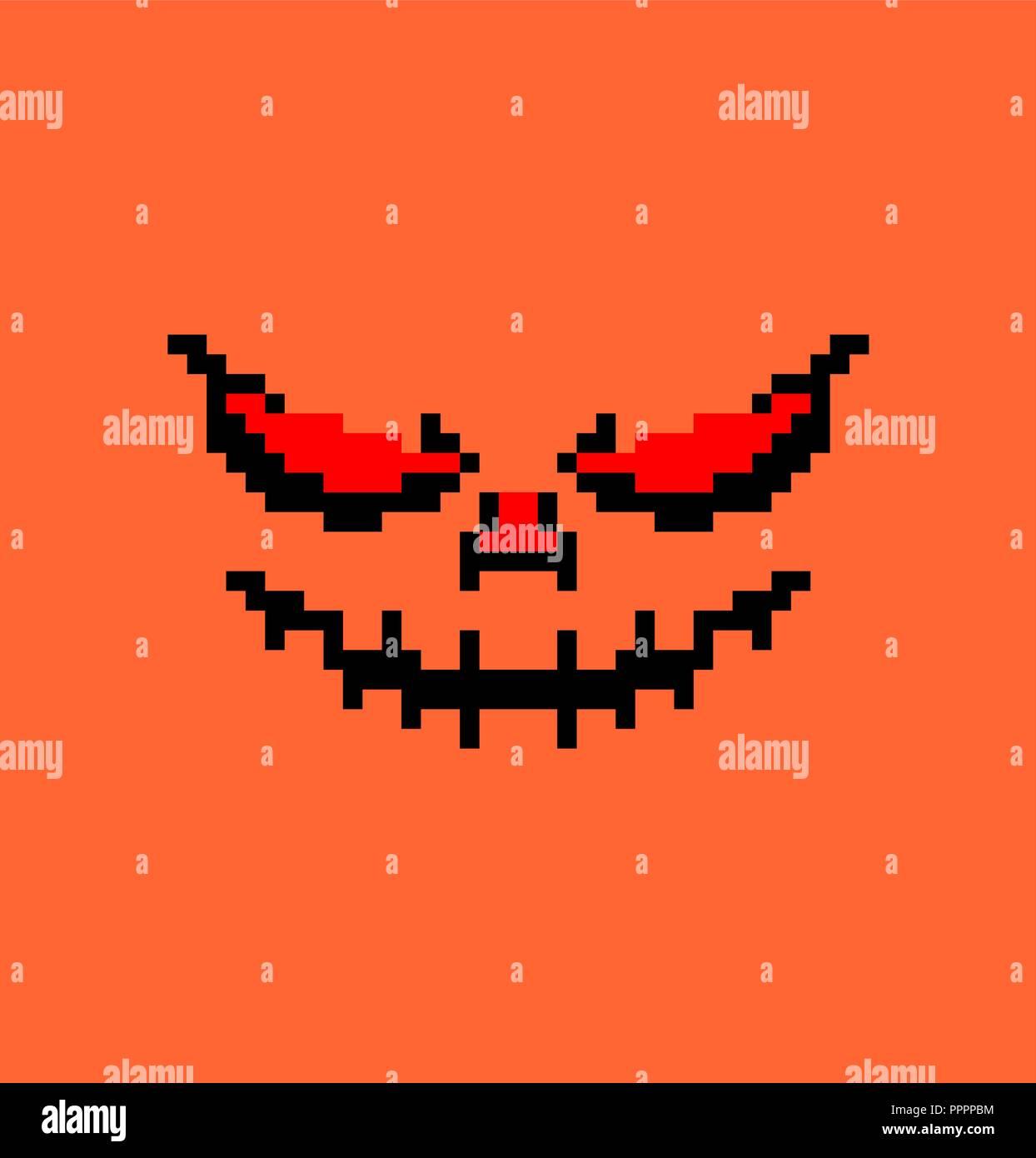 Pumpkin Halloween Pixel Art Horror Symbol 8 Bit Stock