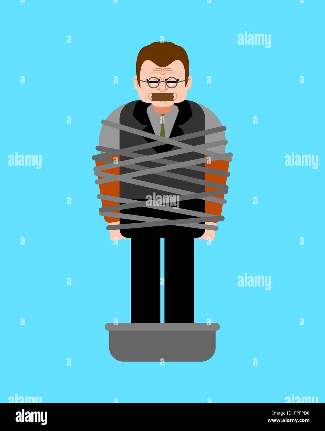 Mafia victim. Man tied up with rope Cement shoes. pelvis with concrete. gangster prey Stock Vector
