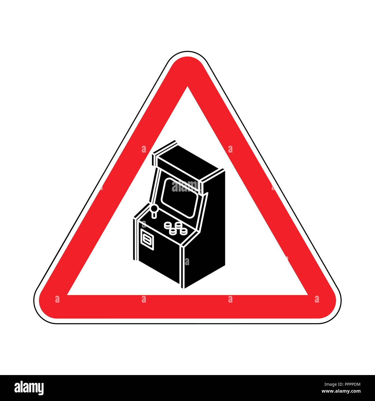 Attention Old Arcade Machine. Caution Retro VideoGame Gaming. Red road sign. Warning play - Stock Vector