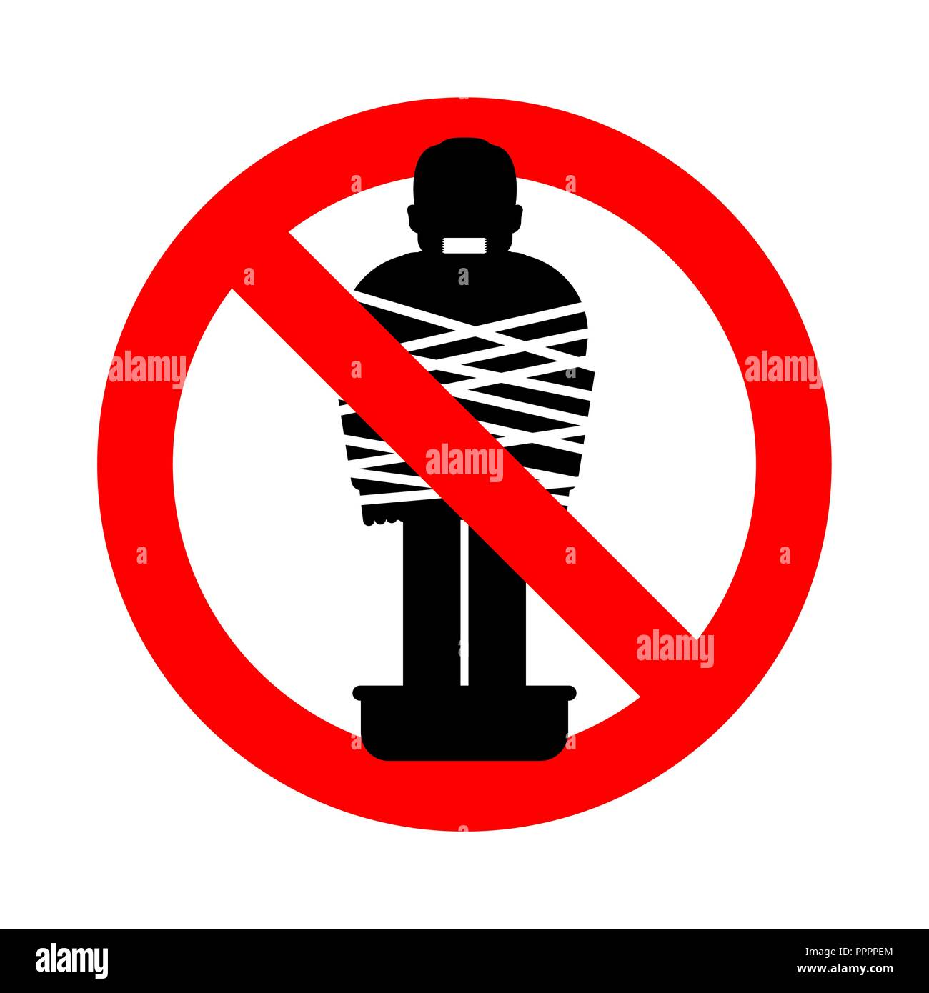 Stop Mafia victim. Ban gangster prey. Forbidden Red road sign. Man tied up with rope Cement shoes. pelvis with concrete. Warning Criminals - Stock Vector