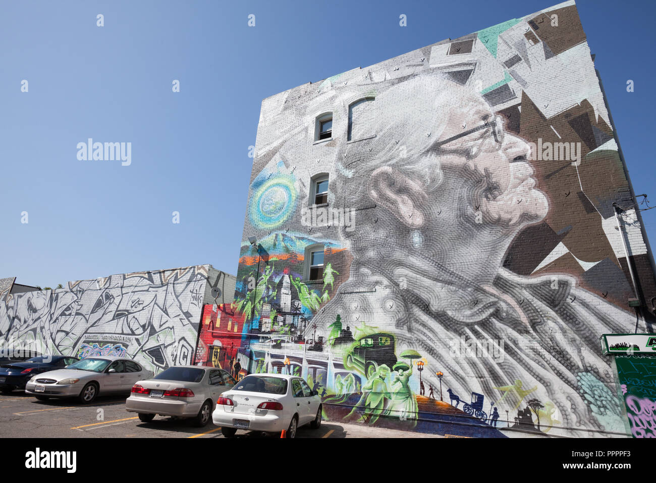 Abuelita by El Mac on the back of the American Hotel in the Downtown LA Arts District - Stock Image