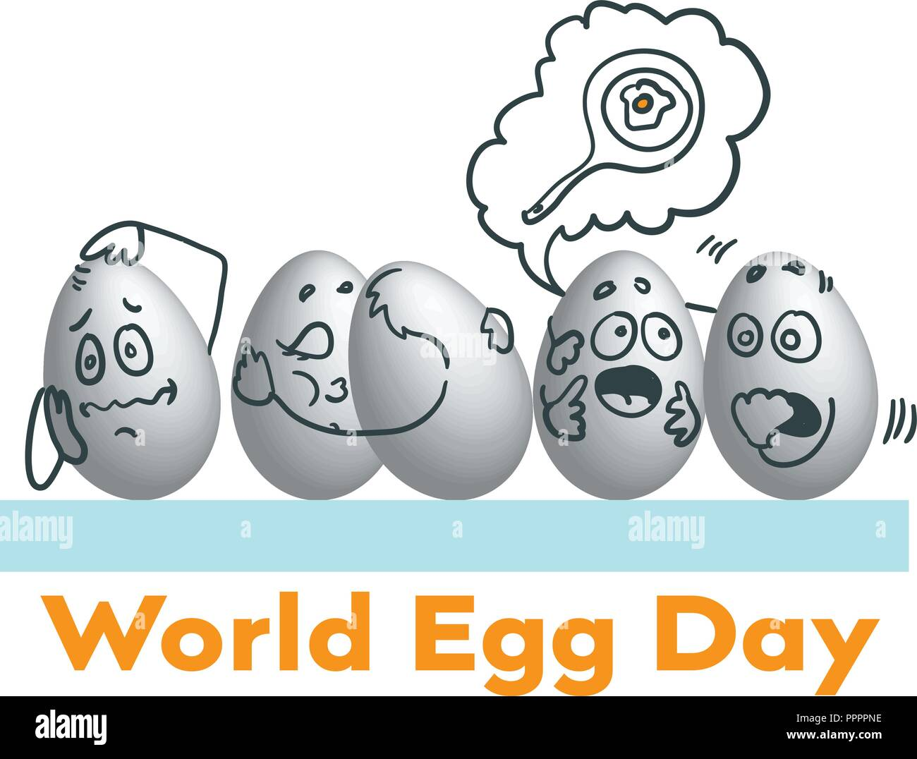World Egg Day Vector illustration. Suitable for greeting card, poster and banner. - Stock Image