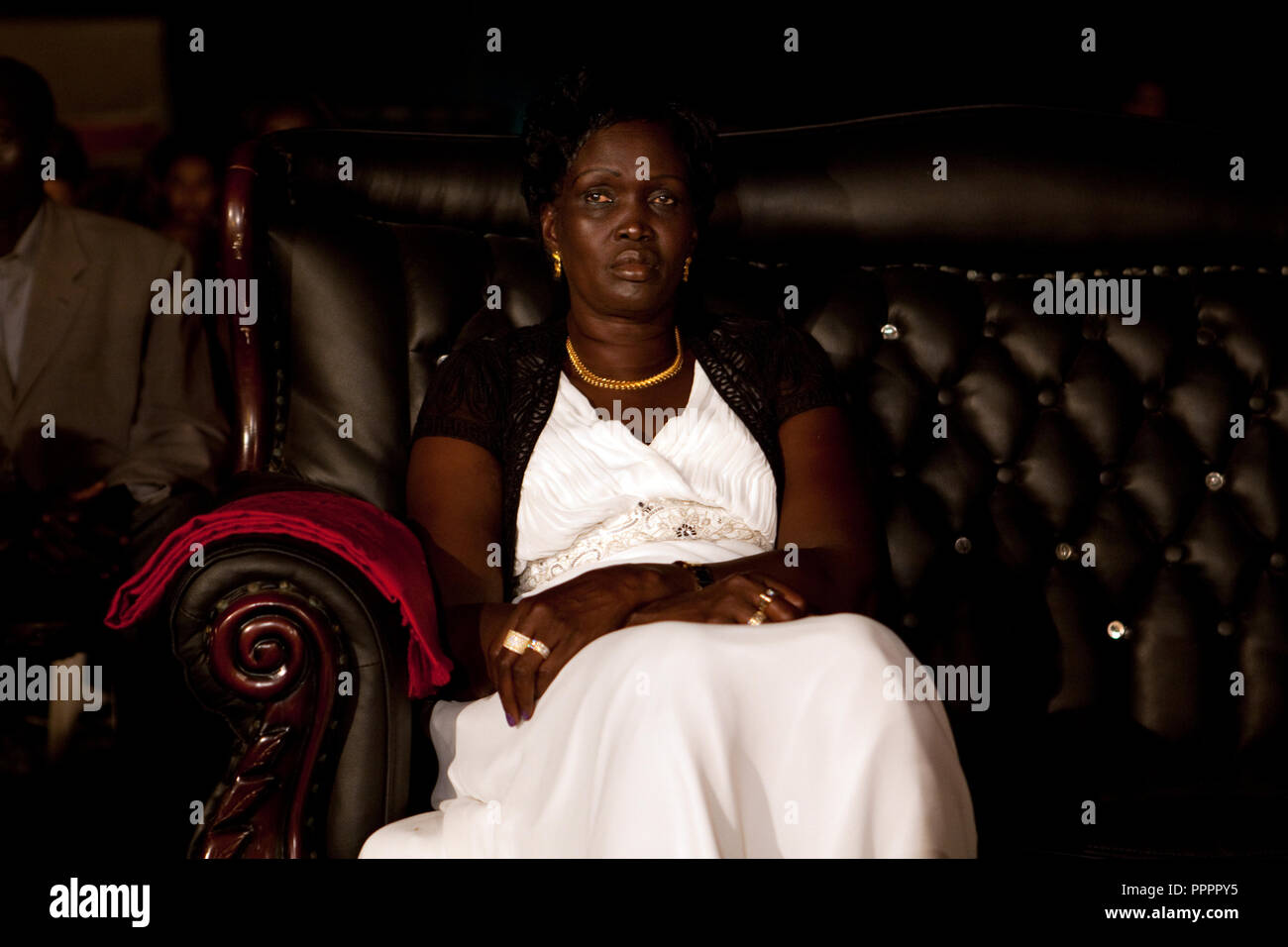 4 december 2010 - Juba, Southern Sudan - Rebecca Nyadeng Garang, the wife of John Garang de Mabior the former President of Southern Sudan and First Vice President of Sudan, attends Miss Malaika South Sudan 2010 at Nyakuron Cultural Centre Juba. The contest featured 15 women from all 10 of South Sudan's states. The event was a way to show off their talents, traditions and culture. The competition was originally put together in 2005 by the southern Sudanese diaspora living in neighbouring Kenya. The word 'Malaika' means angel in Kiswahili, spoken widely in Kenya, the country where tens of thousa - Stock Image