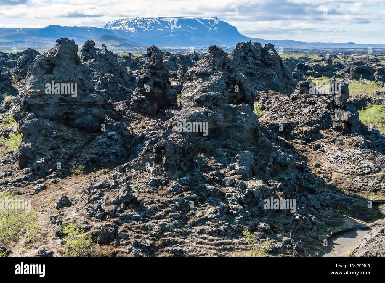 Dimmuborgir lava field, Myvatn area - Iceland - Stock Image