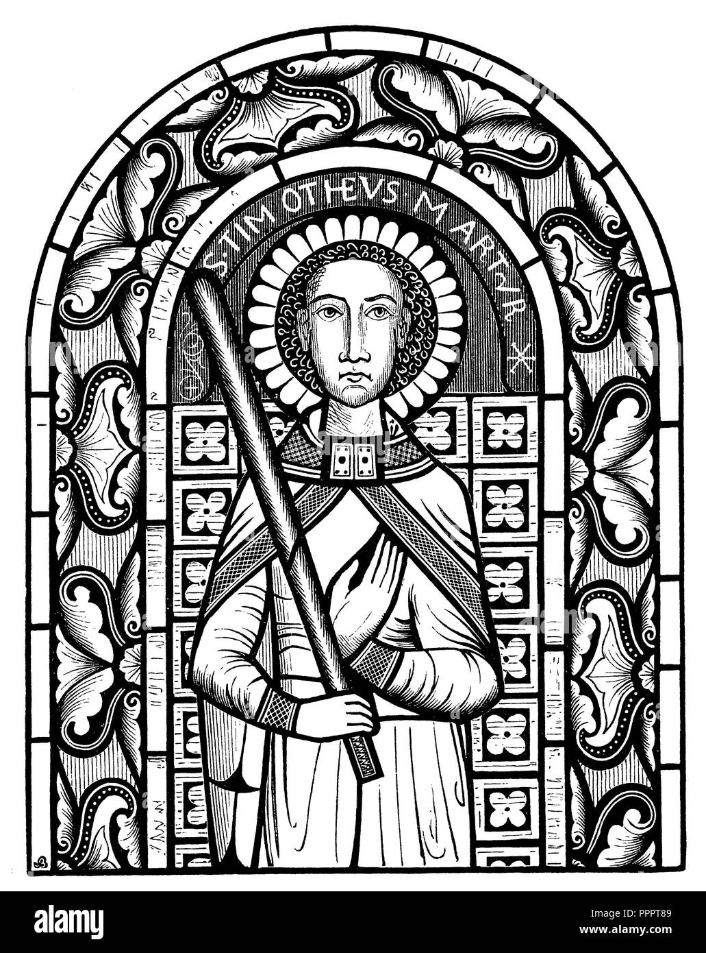 12th century stained glass in Neuweiler (Alsace), Stock Photo